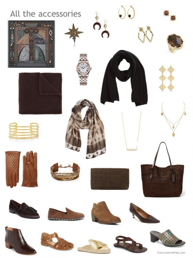 33. accessory wardrobe based on brown and black