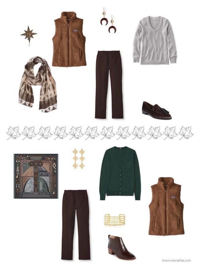 35. 2 ways to wear a brown fleece vest