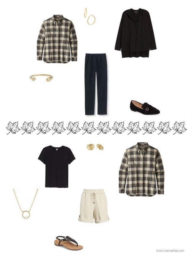 4. 2 ways to wear a black plaid flannel shirt