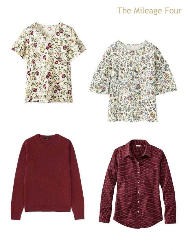 4. 4 tops in burgundy and florals