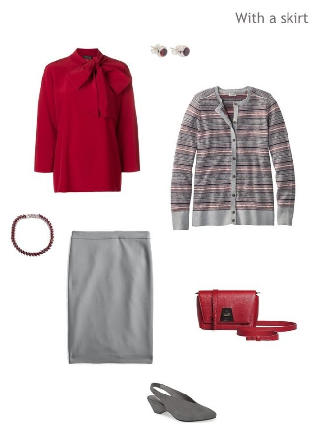 4. Fair Isle cardigan with grey skirt