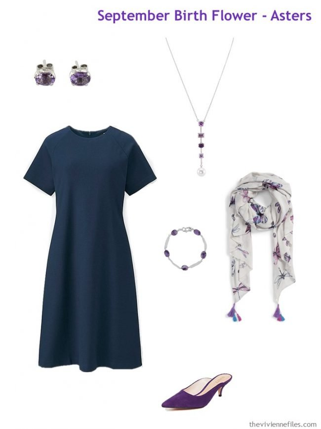 4. navy dress with purple accessories