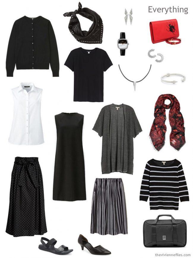 4. travel capsule wardrobe in black and white