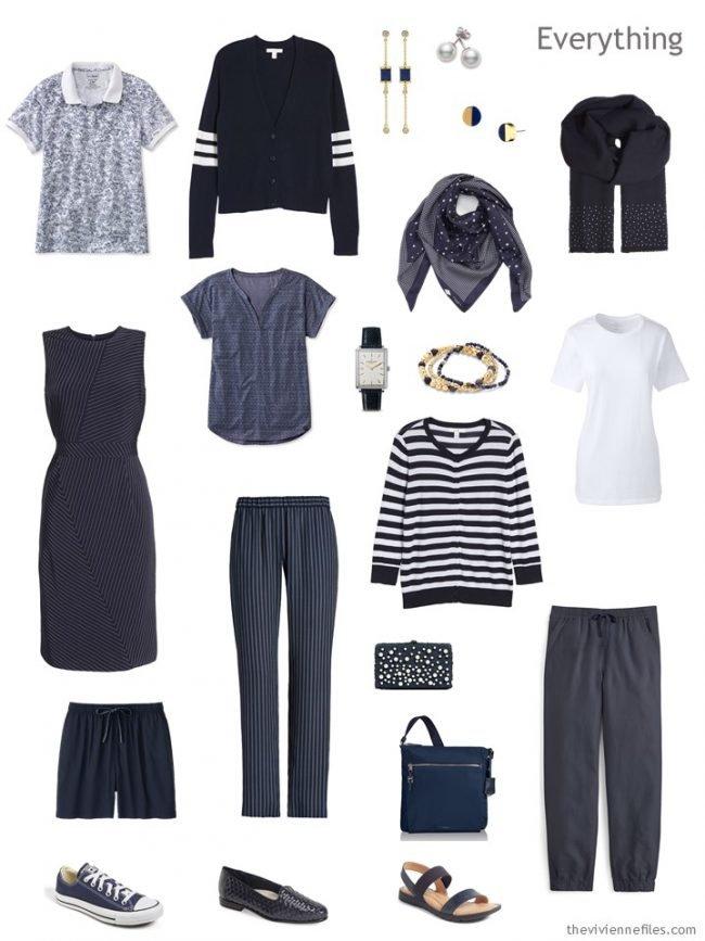4. travel capsule wardrobe in navy and white