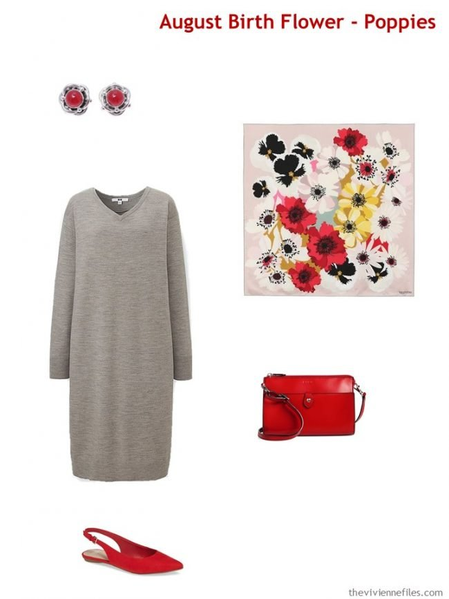 4. wearing poppy red with a grey dress