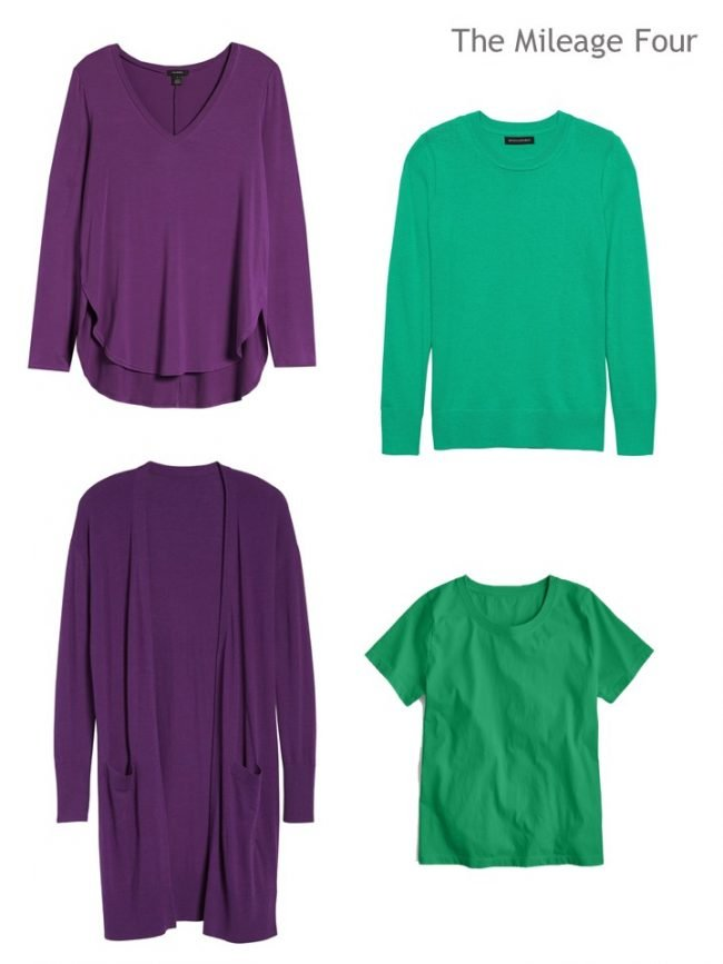 5. 2 purple tops and 2 green tops