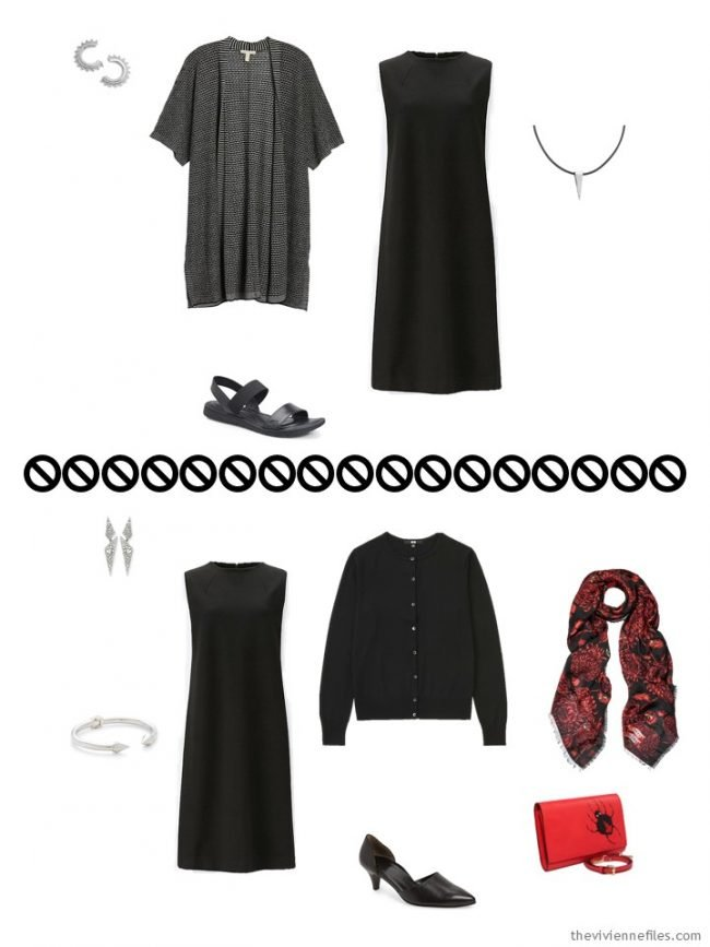 5. 2 ways to wear a black dress from a travel capsule wardrobe