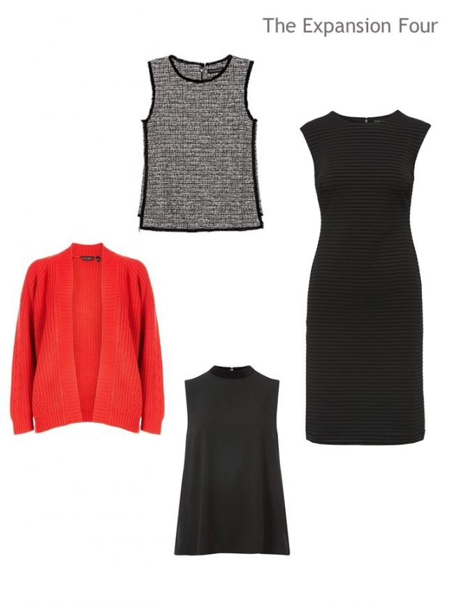 5. 4 garments in black, white and red