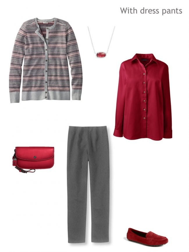 5. Fair Isle cardigan with grey dress pants