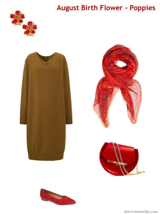 5. wearing poppy red with a dark camel dress