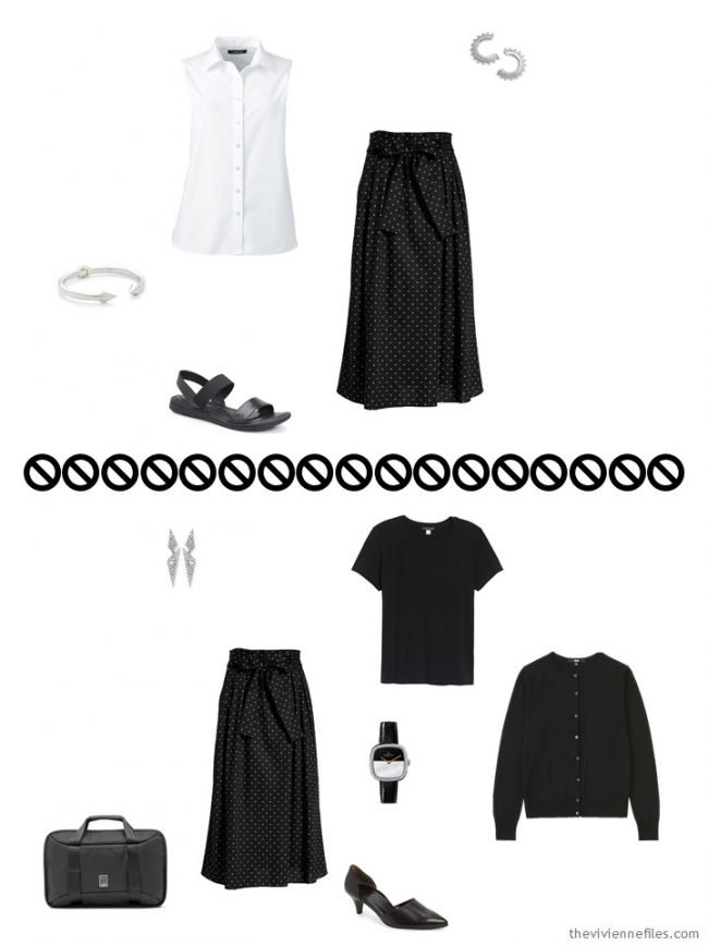 6. 2 ways to wear a dotted skirt from a travel capsule wardrobe
