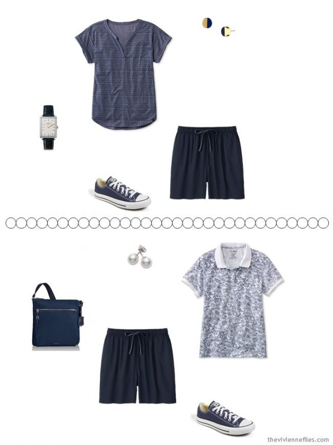 6. 2 ways to wear navy shorts from a travel capsule wardrobe