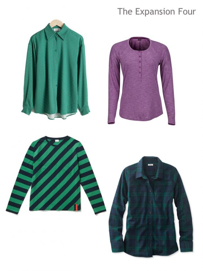 6. 4 tops for a navy, purple and green 4 by 4 Wardrobe