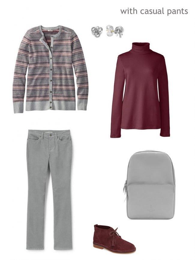 6. Fair Isle caridgan with grey corduroy pants