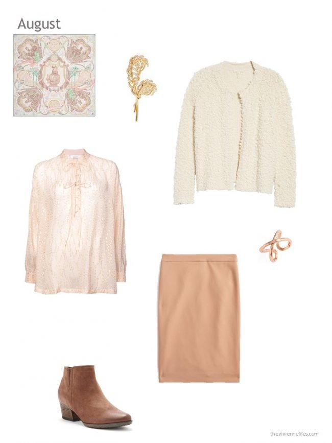 6. beige and apricot skirt outfit