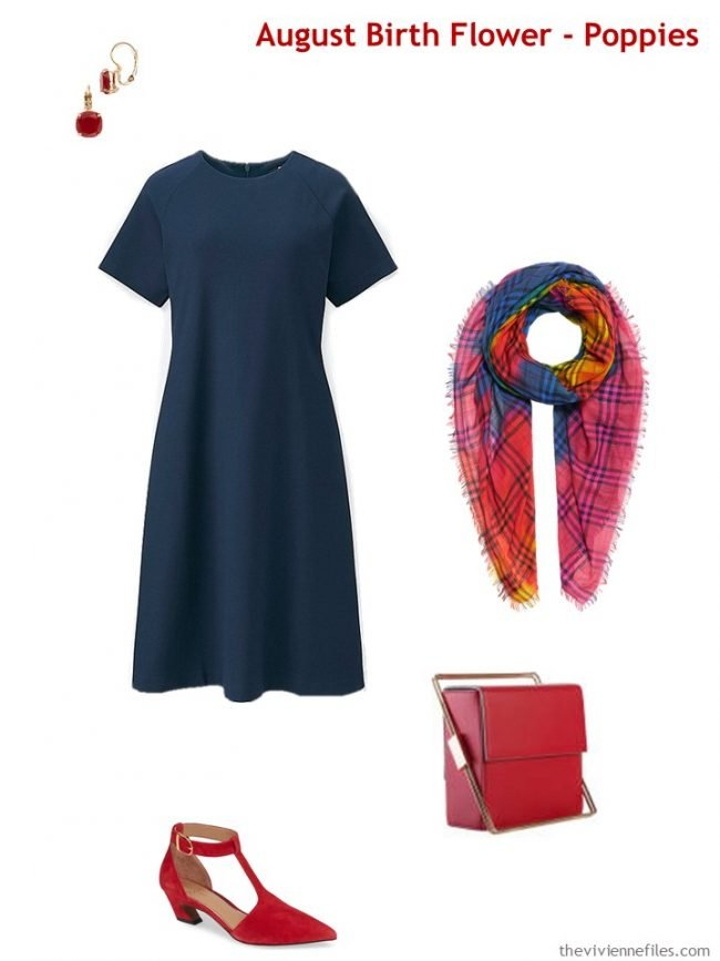 6. wearing poppy red with a navy dress