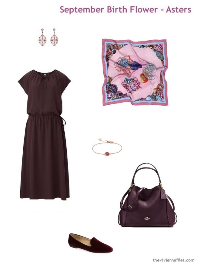 6. wine dress with wine and rose accessories