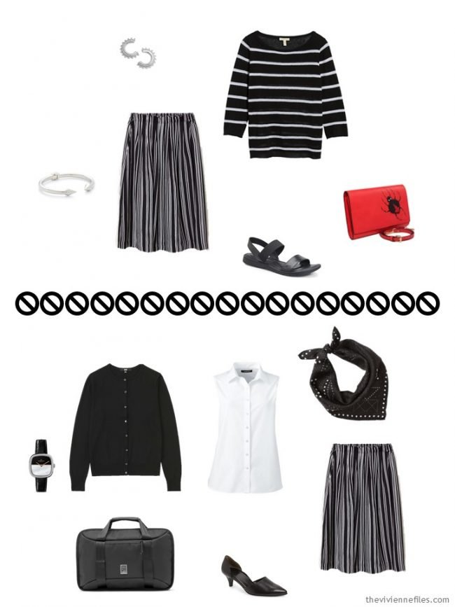 7. 2 ways to wear a black striped skirt from a travel capsule wardrobe