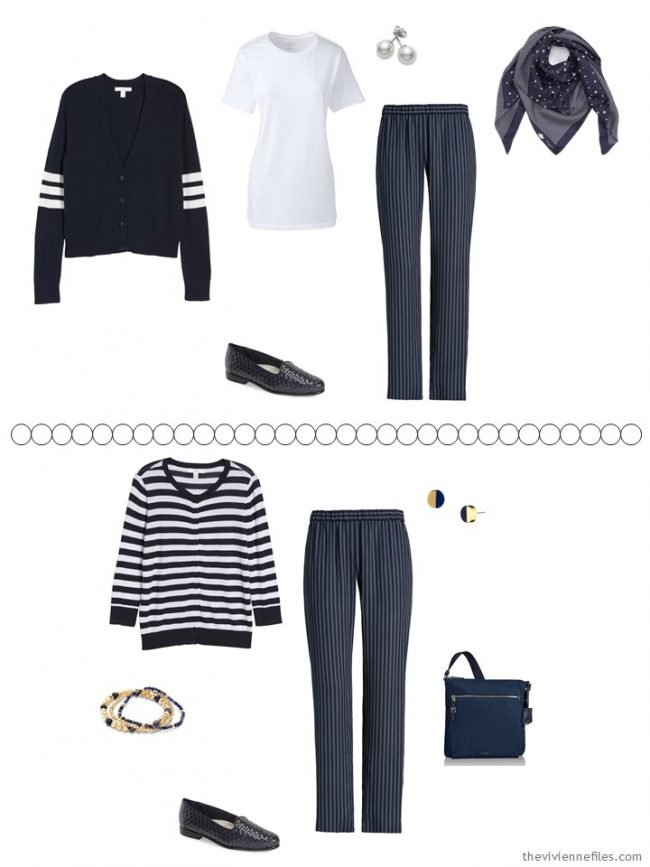 7. 2 ways to wear navy striped pants from a travel capsule wardrobe