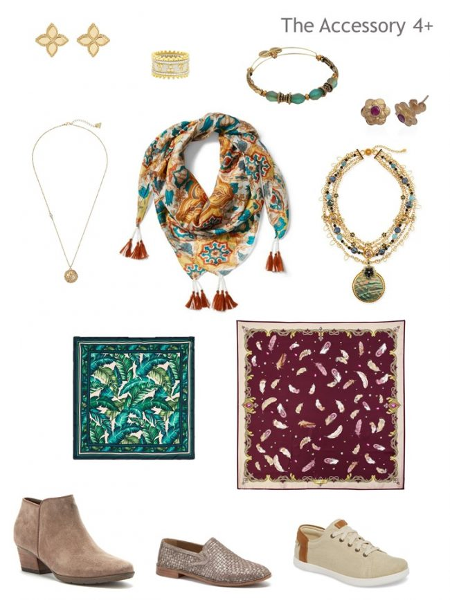 7. accessories for Project333 in beige, wine, teal and forest