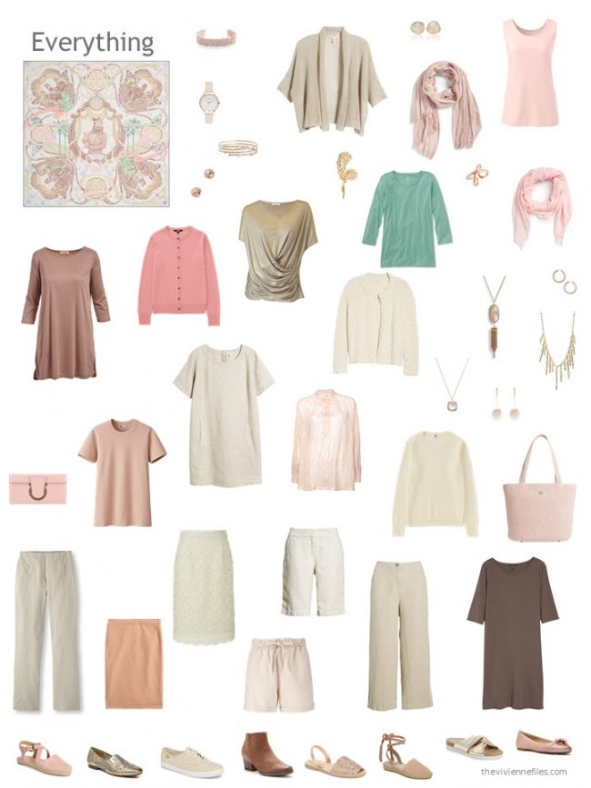 7. capsule wardrobe in beige and brown with green and pink accents