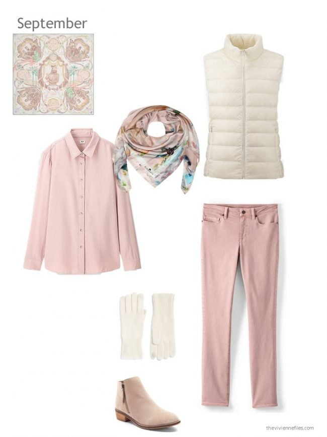 7. pink outfit with an ivory down vest