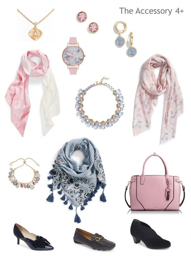 8. Accessories for a Project 333 Wardrobe in navy and pink