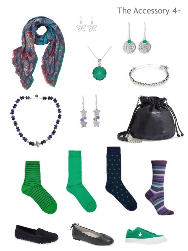 8. Accessory wardrobe in navy, purple and green