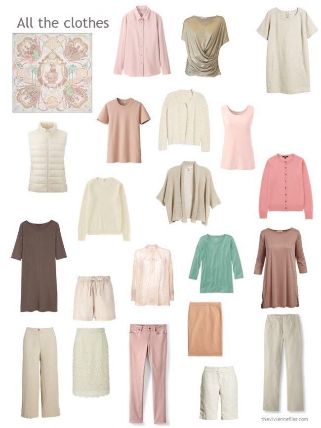 8. capsule wardrobe based on pink and ivory