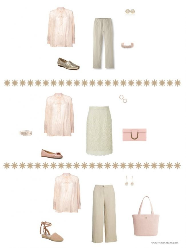9. 3 ways to wear a pink print blouse
