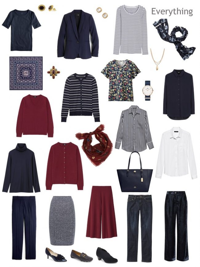 9. Project 333 Wardrobe in navy, burgundy and white