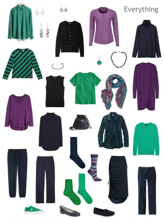 9. Project 333 Wardrobe in navy, purple and green
