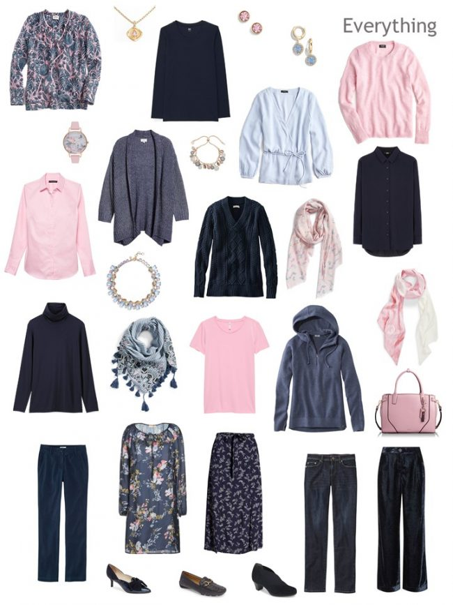 9. a Project 333 Wardrobe in navy and pink