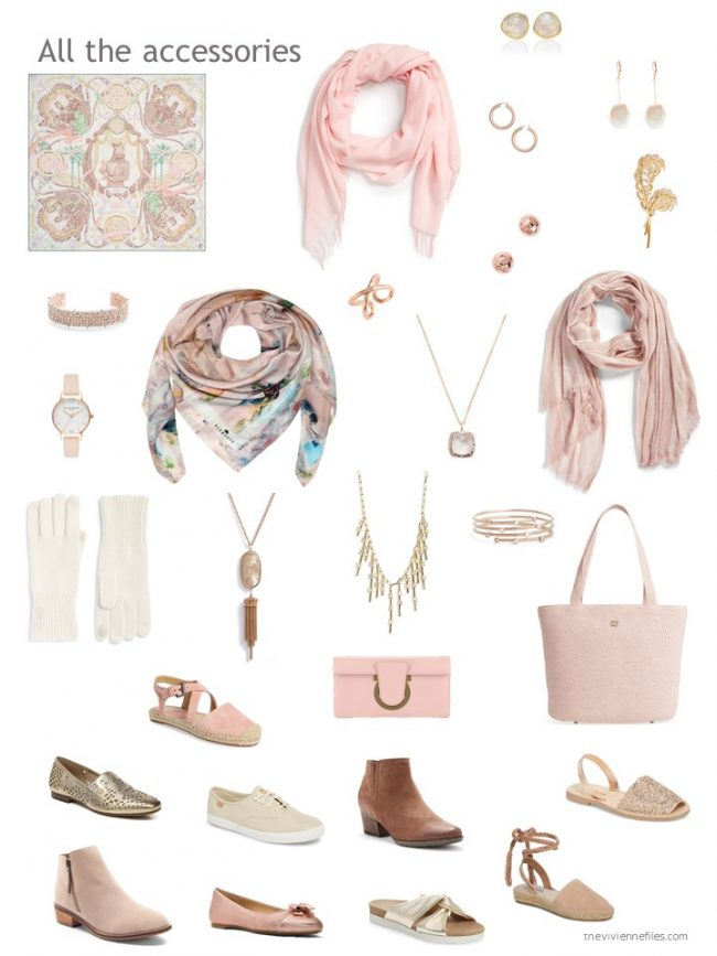 9. accessory wardrobe based on pink and ivory