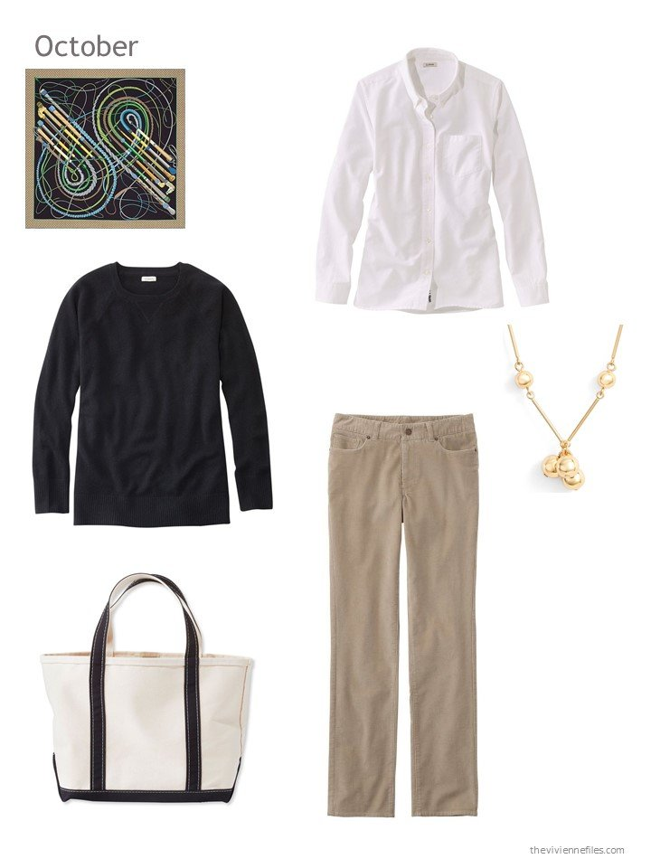 1. black, white and tan October outfit