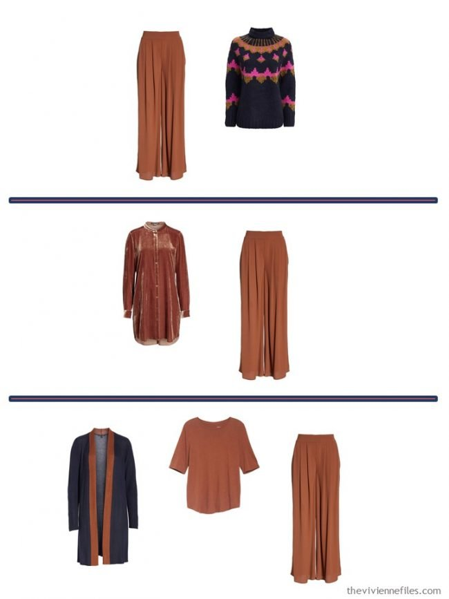 10. 3 ways to wear Nutmeg Silk Pants from a 4 Cluster Wardrobe