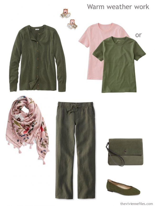 10. summer work outfit in olive and pink