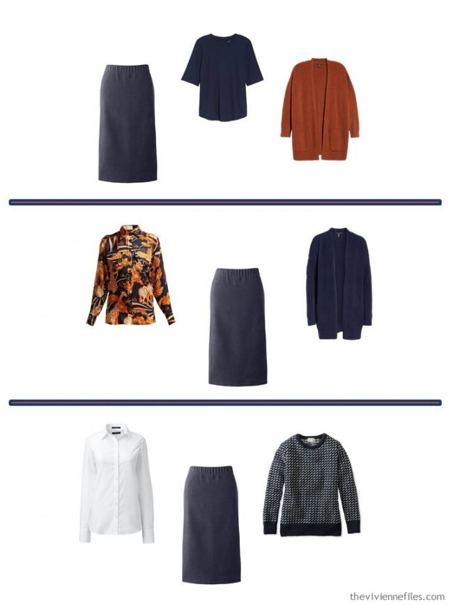 11. 3 ways to wear a navy corduroy skirt from a 4 Cluster Wardrobe