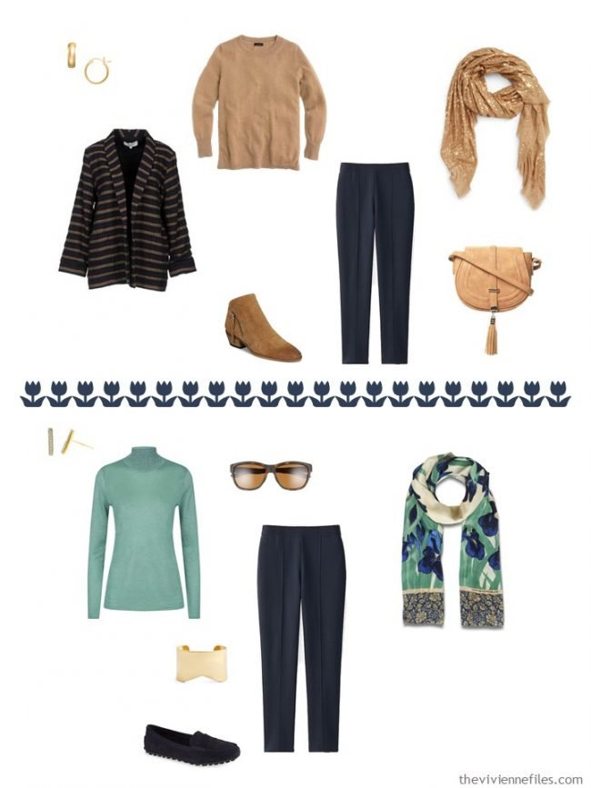 12. 2 outfits with navy pants from a capsule wardrobe