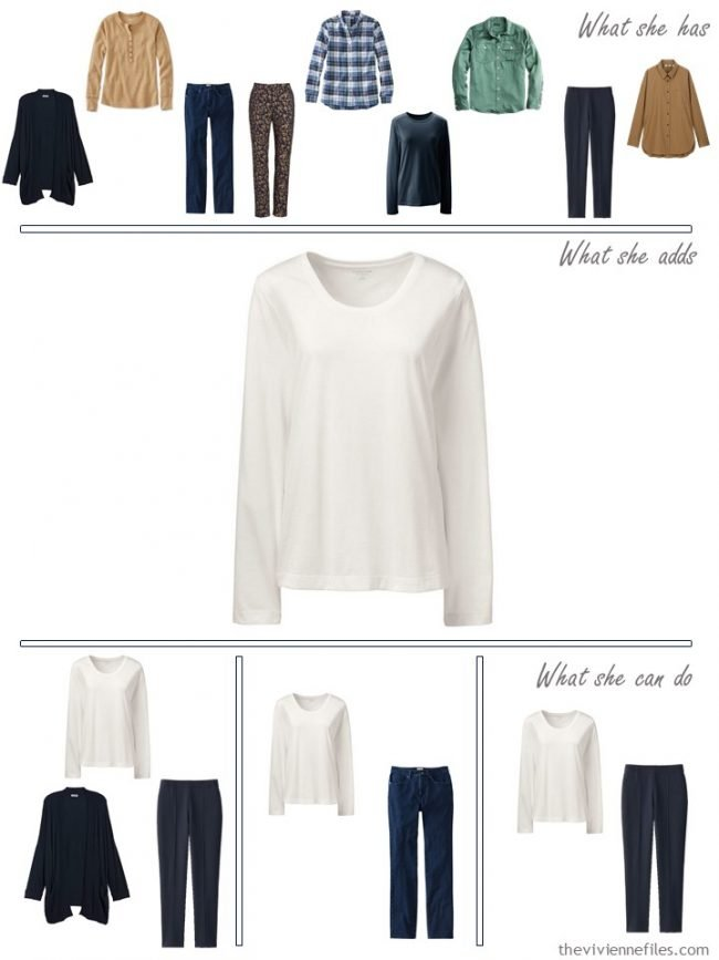 12. adding an ivory tee shirt to a capsule wardrobe