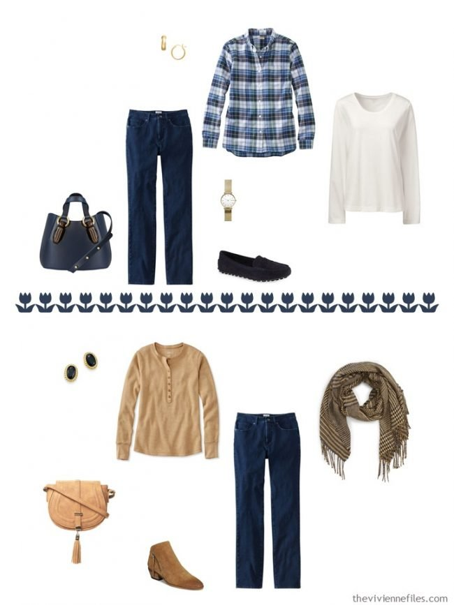 13. 2 outfits with blue jeans from a capsule wardrobe