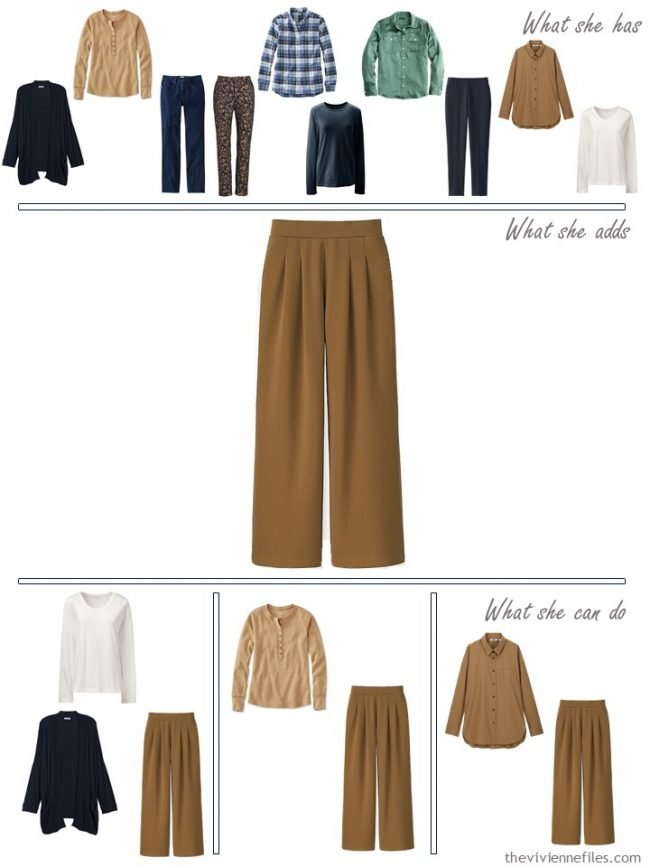 13. adding camel pants to a capsule wardrobe