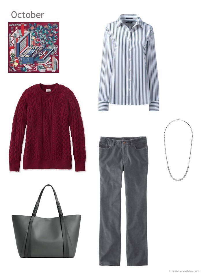 13. burgundy, blue and grey October outfit