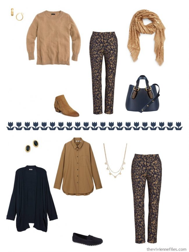 14. 2 ways to wear printed pants from a capsule wardrobe