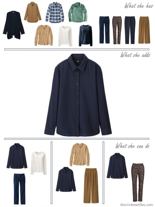 14. adding a navy shirt to a capsule wardrobe