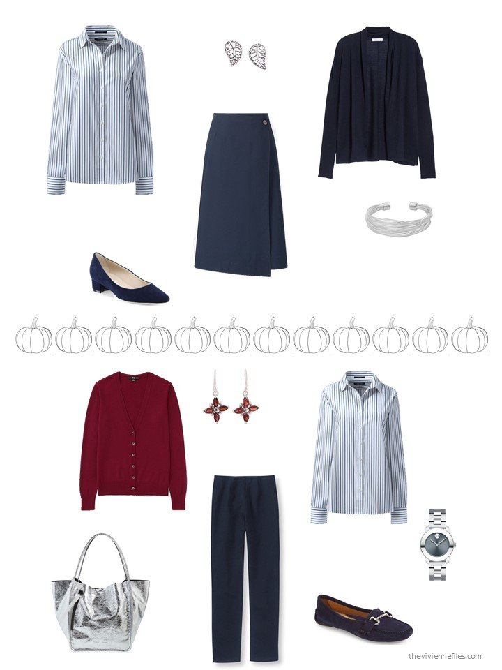 16. 2 ways to wear a blue striped shirt