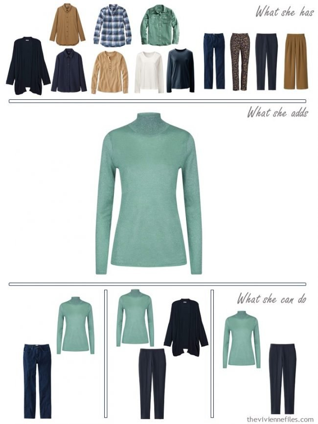 16. adding a green sweater to a capsule wardrobe