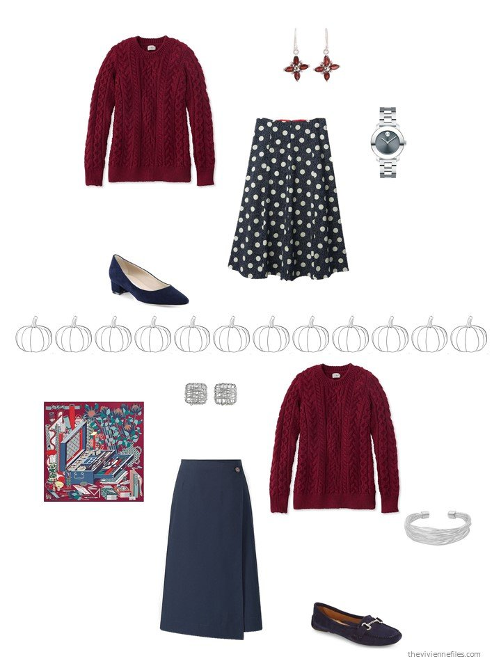 17. 2 ways to wear a burgundy sweater
