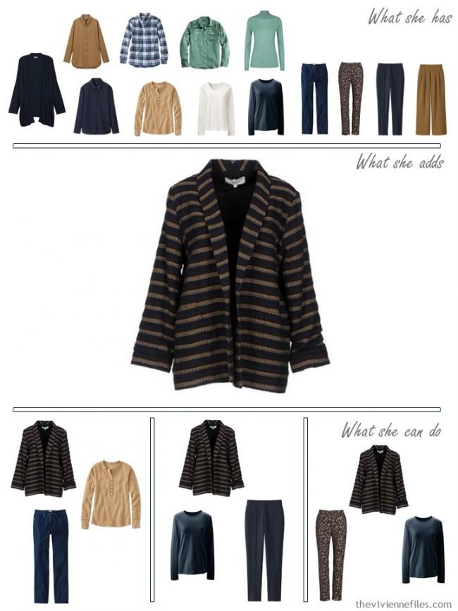 17. adding a navy and camel jacket to a capsule wardrobe