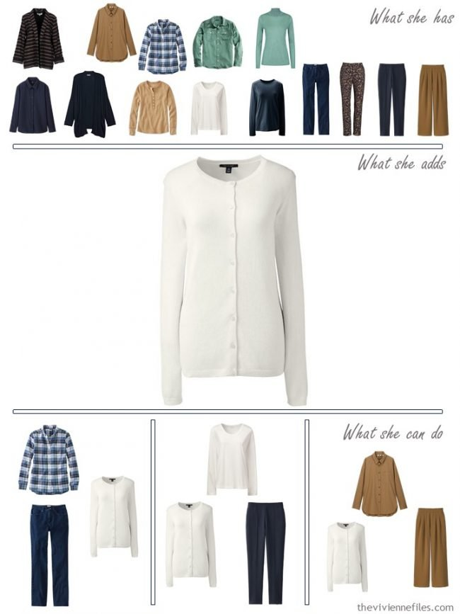 19. adding an ivory cardigan to a capsule wardrobe